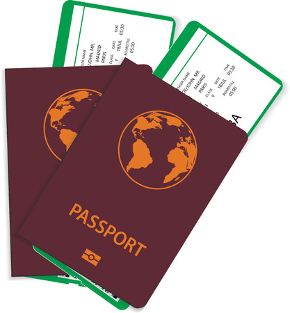 Passport and airline ticket or boarding pass illustration. Vector passport with airline boarding pass tickets inside. Travel concept