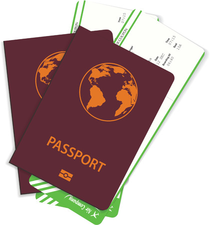 Vector airline passenger tickets or boarding pass with bar code inside passport. Concept of rip or travel. Illustration