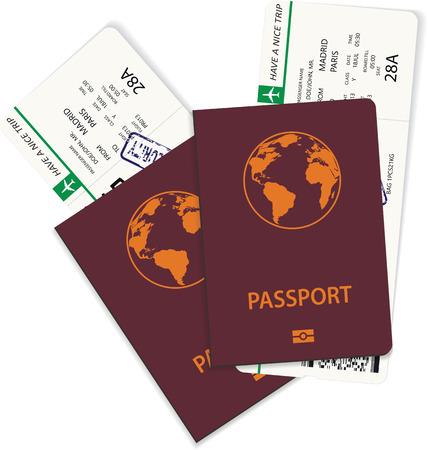 Vector green airline passenger and boarding pass tickets inside international passport. Boarding pass tickets nedd for travel by plane