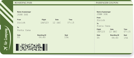 Green vector pattern of a boarding pass ticket. Concept of trip or travel. Boarding pass required for boarding aircraft