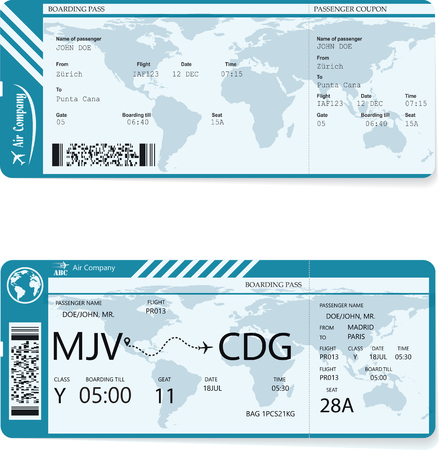 Vector of two different variants of boarding pass Illustration