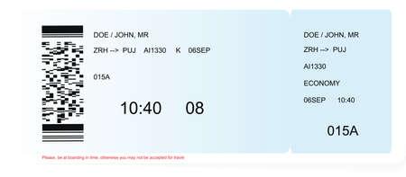 Colored and realistic boarding pass ticket Ilustración de vector