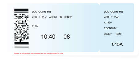 Colored and realistic boarding pass ticket Vetores
