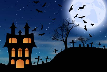 Halloween bats and dark castle on blue Moon background.