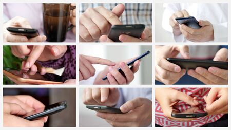 Collage of different people hands texting or typing on theirs smartphones.