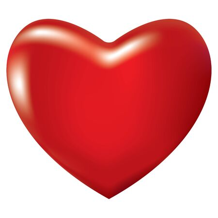 3D icon of red shiny heart. Heart was made with meshes. Vector illustration