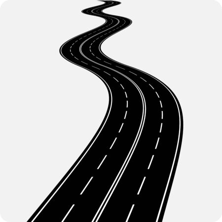 Vector icon of winding curved road.