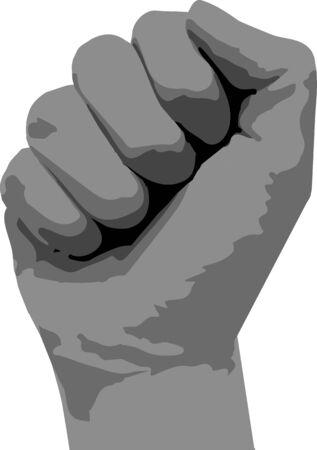 Icon of fist raised up. Vector illustration.