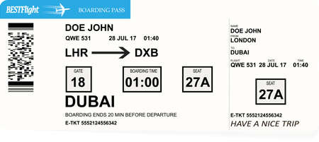 Variant of air ticket boarding pass Vectores