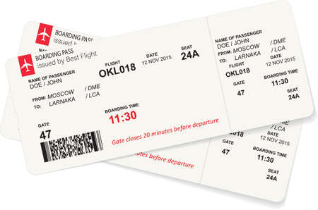 Vector template of red boarding pass tickets.