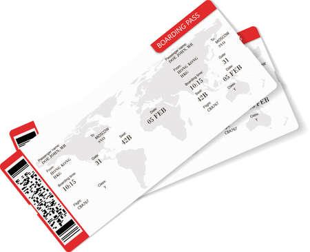 Vector illustration of two boarding pass. 矢量图像