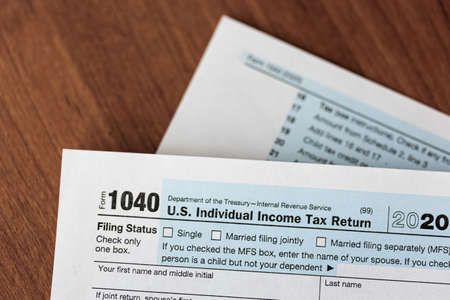 Close-up of US individual income tax form 免版税图像