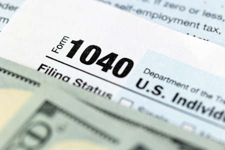 US federal income tax return form 1040.