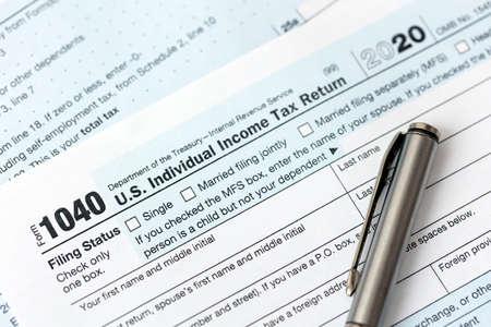US federal income tax return form 1040.