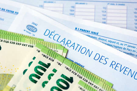French Declaration des revenus 2020 income tax paper form and Euro
