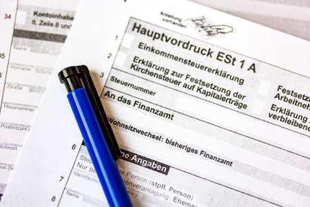 German tax form Hauptvordruck ESt 1 A close up