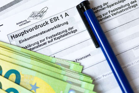 German tax form Hauptvordruck ESt 1 A close up 免版税图像 - 165984849