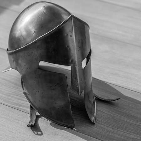 Isolated single close up Spartan Warrior metal helmet 300