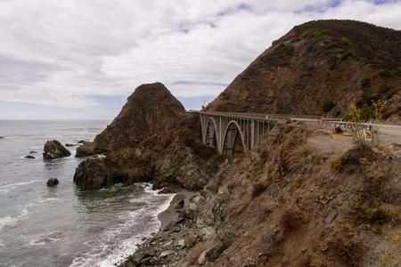 Viewpoint next to the Big Creek Bridge in Big Sur, California, USA.