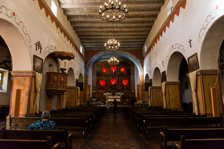Interior of the mission of San Juan Bautista, California, USA.