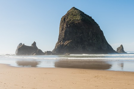 Views of the huge Haystack rock in Cannon Beach, Oregon, USA. Stock Photo