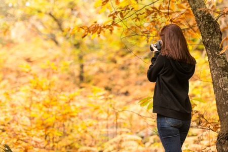 A young woman with reddish hair takes pictures with a reflex camera in a forest 스톡 콘텐츠