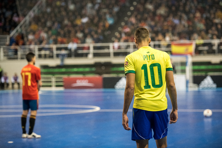 Indoor footsal match of national teams of Spain and Brazil at the Multiusos Pavilion of Caceres Editorial