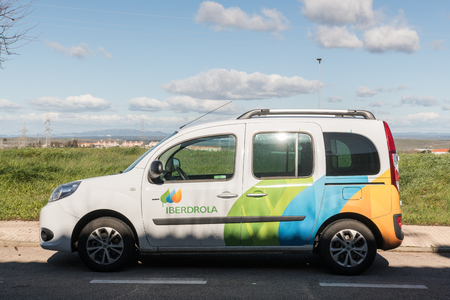 Vehicle of the Spanish electric company Iberdrola parked