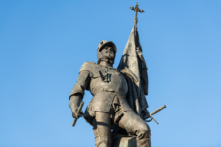 Detail of the statue of Spanish conquistador Hernan Cortes.