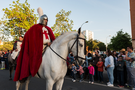 St. George riding his horse during the feast of St. George and the dragon. Editorial