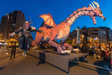 The dragon during the parade on the occasion of the feast of Saint George and the dragon.