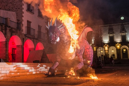 Staging of the burning of the dragon in the Plaza Mayor on the occasion of the feast of Saint George.