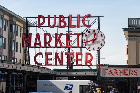 Detail of the characteristic Pike Market sign of Seattle. Editorial