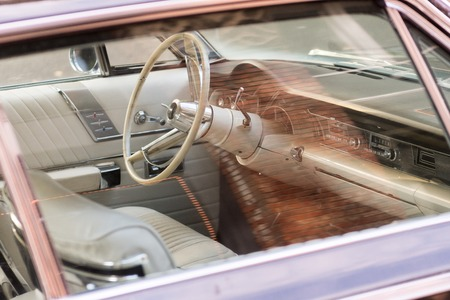 Interior of a Chrysler classic car in a street next to Occidental Square in Seattle, Washington, USA. 에디토리얼