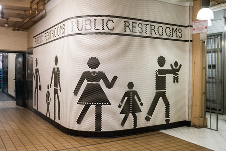 Image at the entrance of the bathrooms in Pike Market in Seattle, Washington, USA Editorial