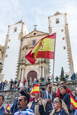 Attendants with flags of Spain to the meeting of Vox, far right Spanish party, with its leader Santiago Abascal. Editorial