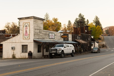 Buildings with the aesthetics of the old American West in Winthrop at sunset, North Cascades. Editorial