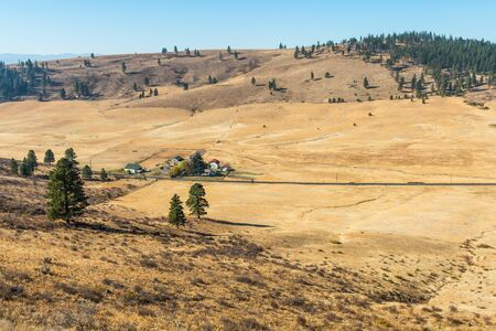Landscape of the plain in Hidden Valley with yellowish soil and some trees and ranches in Cle Elum
