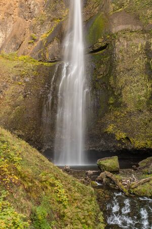 The lower part of the first level of the Multnomah waterfall located at Multnomah Creek in the Columbia River Gorge Stock Photo