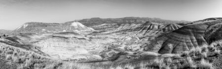 Panoramic black and white view from Painted Hills Overlook