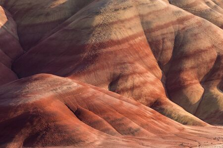 Detail of the arid, wavy and colorful landscape of Painted Hills, Oregon, USA.