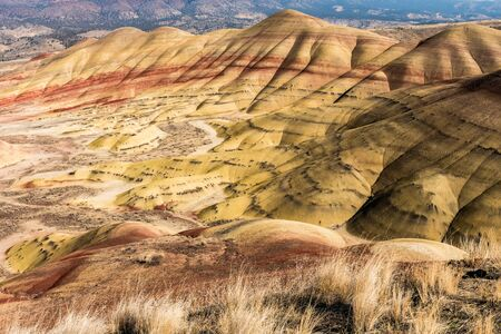 Views of the arid and colorful landscape of Painted Hills, Oregon, USA.