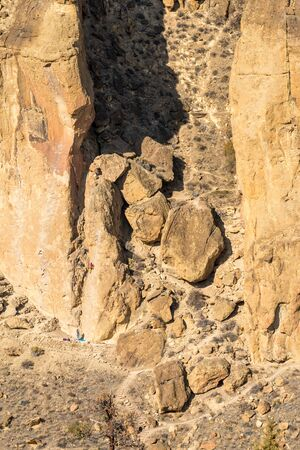 Sunset view of climbing walls at Smith Rock
