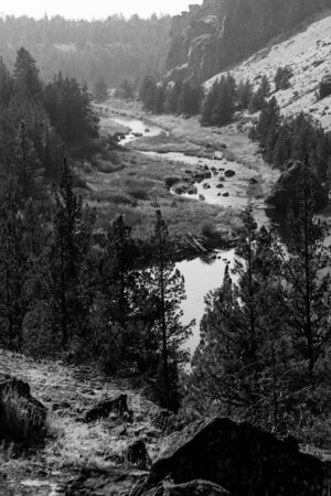Black-and-white photograph of Smith Rocks view