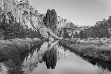 Black and white photo of Crooked River as it passes Smith Rock State Park
