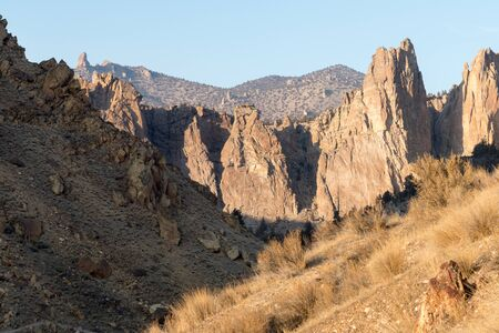 Sunset view of some of the rock walls at Smith Rock State Park