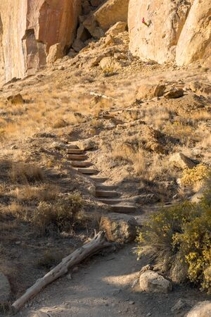 Ascent route to one of the rock walls used for climbing at Smith Rock State Park