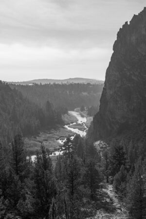 Black-and-white photograph of Smith Rocks view Stock Photo
