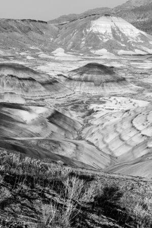 Black and white photograph of the arid landscape of Painted Hills, Oregon, USA. Stock Photo