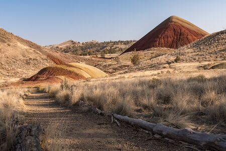 Landscape around Red Hill Trail in Painted Hills, Oregon, USA. Stock Photo